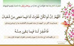 حضرت امام رضا علیه السلام خواندن این دعا را در روزهای پایانی ماه شعبان توصیه فرمودند