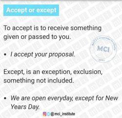 کجا میشه accept  یا  except  رو استفاده کرد.  @mci_institute