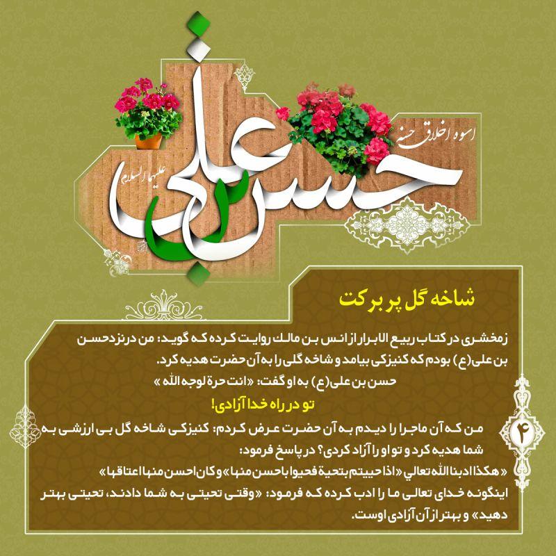 اسوه اخلاق حسنه؛ حضرت حسن بن علی علیهما السلام بخش چهارم: شاخه گل پر بركت