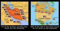 آیا آمریکا هم اگر مثل ایران ،دورتادور کشورش ،پادگان نظامی ایران بود ،احساس خطر نمیکرد ؟!