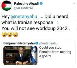 پاسخ دونده #فلسطینی به نتانیاهو که موجب شد او را بلاک کند!   //نتانیاهو:امیدوارم بازی تیم ملی #ایران و اسرائیل را ببینم // دونده فلسطینی: جواب #ایرانیها را نشنیدی؟ تو جام جهانی 2042 را نخواهی دید!//