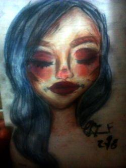 اولین نقاشی دختر با لوازم ارایشی