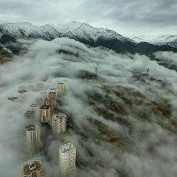 غرق زیبایی تهران شیم... منظره ای بینظیر که شاید ده سال یکبار هم اتفاق نیافتد!  سعادت آباد - تهران