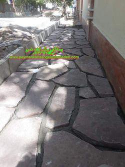 سنگ کاری و فرش دور ساختمان نوع اجرا چکشی 09124867802اجرای کلیه سنگ های کوهی لاشه مالون  رودخانه ای تهیه با مصالح