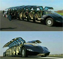 """این ماشین ۱۵ متری که """"سوپرباس"""" نام دارد، قادر به حمل ۲۳ نفر با حداکثر سرعت ۲۵۰ km/h است.  شیخ عرب این ماشین را که در هلند ساخته شده، به قیمت ۱۰ میلیون دلار خریداری کرده است"""