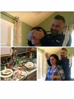 این خانوم چندروز رفته بوده سفر،وقتی برگشته همسرش چشماشو میگیره و صحنه بالا سورپرایزش میکنه  برای روح مرد فاتحه ای ختم کنید