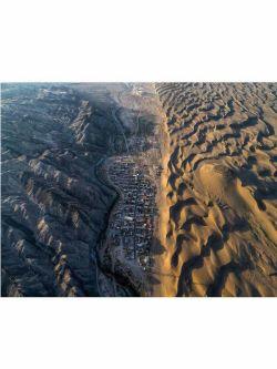 تصویری شگفت انگیز از تقابل کویر و کوه  ایران-کویر رضاآباد شاهرود