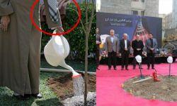 ⭕️ رهبر انقلاب امروز در مراسم درختکاری عباشونو ندادن کسی براشون نگه داره و گذاشتن روی شمشادها