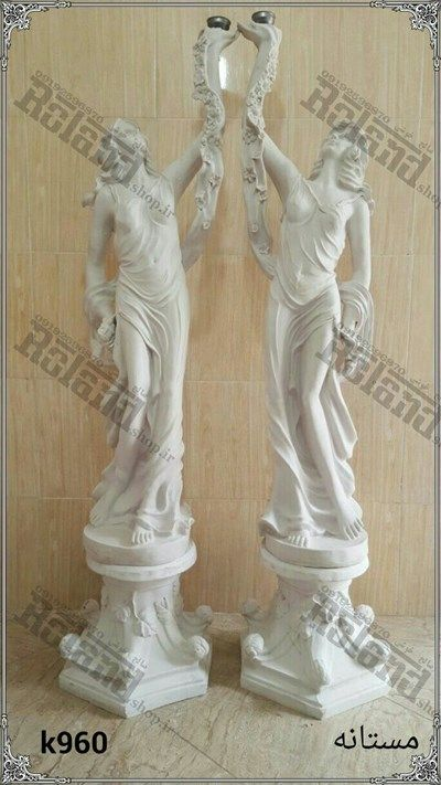 فرشته و مجسمه ایستاده فایبرگلاس مستانه برای استفاده در دکور های محوطه ای , دکورباغ و تالار ,  ورودی تالار عروسی