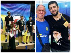« المار نور علی اف» کشتی گیر اوکراینی آذری الاصل در مسابقات کشتی کشور اوکراین مدال طلا را کسب نمود و با پیراهنی که تصویر رهبر انقلاب بر آن نقش بسته به روی سکوی دریافت جوایز رفت.
