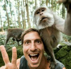 میمون ها همیشه به تقلید از کارهای انسان مشهور بوده اند.  این گردشگر 31 ساله گفته است که این میمون بعد از دقت به کارهای او٬ گوشی موبایلش را گرفت و یک عکس دو نفره انداخت