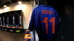 The shirt worn by Arjen Robben of the Netherlands hang in the dressing room