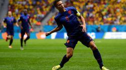 Robin van Persie of the Netherlands celebrates scoring