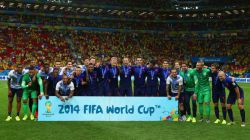 The Netherlands celebrate with their medals
