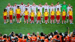 Germany players line up on the pitch
