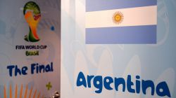 Door of Argentina dressing room is seen prior to the 2014 FIFA World Cup Brazil Final match