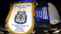 The match pennent of Argentina displayed in the dressing room