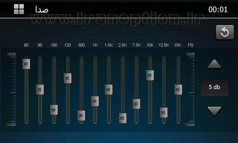 دوازده باند اکولایزر حرفه ای دستگاه مانیتور فابریک پژو 206 مدل اتومکسکو