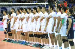 Iran team during the national anthem
