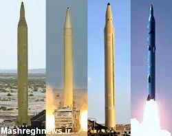 ستون فقرات موشکی دوربرد ایران.از چپ به راست:سجیل 2---شهاب 3---قیام 1---قدر F 1