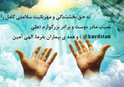 با سلام. مادر دوست و برادرِ من (( علی آقا @kurdstan ))در بستر بیماری هستند. از دوستان محترم میخوام برای سلامتی مادر ایشون صلوات عنایت فرمایند. دوستاتون هم بیزحمت تگ کنید تا در این کار خیر شریک باشند.