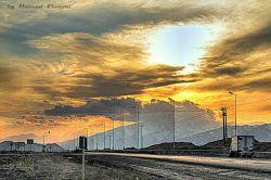 غروب آفتاب در جاده شاهرود_آزادشهر (عکس HDR)