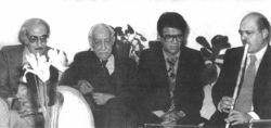 از سمت راست:استاتید کسایی-شجریان-عبادی و تجویدی