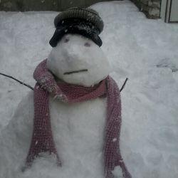سلام ....عزیزان ...این ادم برفی ساخت دست هنرمند بزرگ ست که ....اخمش بخاطر اینه که بهش افتخار ندادم باهاش عکس بندازم ....عکس بندارم ....خخخخخخخ ....عیدتون مبارک با برف شادیه خدایی ....