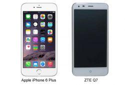 گوشی Q7 شباهت زیادی به iPhone 6 Plus دارد. صفحه نمایش هر دو آنها 5.5 اینچ بوده و ابعاد آنها بسیار به یکدیگر نزدیک می باشند البته کیفیت گوشیQ7 زد تی ای HD یا همان 1280 * 720 پیکسل است، که کمتر از کیفیت Full HD گوشی iPhone 6 Plus می باشد.