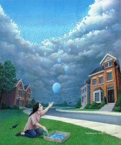این نقاشی منو یاد باز باران میندازه حس ناب کودکی نم نم بارون و کوچه باغی سبز