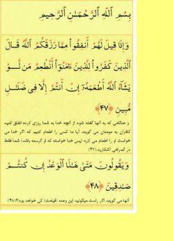 ادامه ی تلاوت روزانه ی چند آیه از قرآن کریم.آیات47 و 48