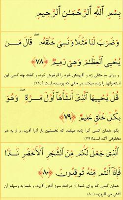 ادامه خوندن هر شب چند آیه از قرآن کریم و ادامه سوره یاسین ... آیات امشب: آیات 78 تا 80 سوره یاسین.