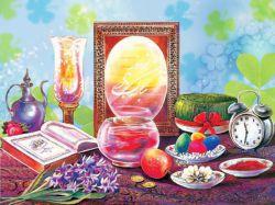 به صحرا صبح می بارد، مبارک  ،زمین، خورشید می تابد، مبارک  ،صدایی می وزد آواز گلهاست  ،نوایی تازه می سازد، مبارک  ،دوباره هفت سین بوی تو دارد  ،برایت سبزه می خواند: مبارک