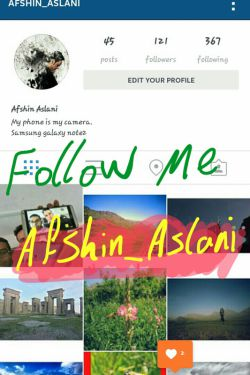 سلام. منو توی اینستاگرام فالوو کنید آی دی: afshin_aslani