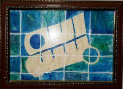 سلام دوستان شبتون زیبا...☺ یکی ازکارهای دوران هنرستانم،تابلوی بسم الله،نمادکاشی کاری