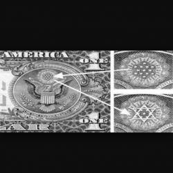 نقش ستاره داوود و13ستاره روی یک دلاری